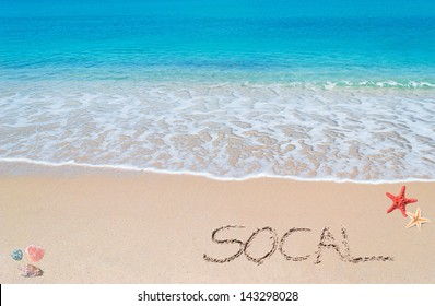 """turquoise water and golden sand with shells and sea stars and """"socal"""" written on it"""