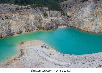 turquoise water lake in abandoned mine, Monte Neme, Galicia