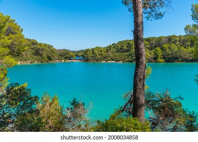 Turquoise water of Malo Jezero at Mljet national park in Croatia - Shutterstock ID 2008034858