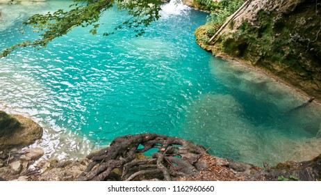 turquoise water pool in the river