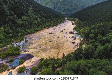 Turquoise water pools at Huanglong Valley in Sichuan China, aerial photos