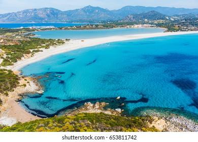 Turquoise water in Porto Giunco, Villasimius. Sardinia, Italy