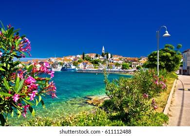 Turquoise waterfront of Ugljan island and town of Kali view, Dalmatia, Croatia