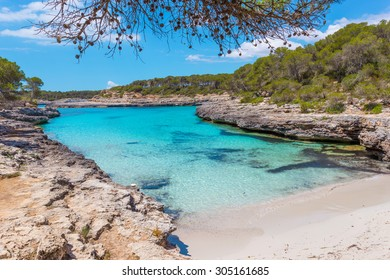 Turquoise waters of a bay in the Mondrago Natural Park, Mallorca, Spain