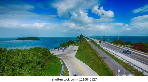 Turquoise waters and bridge on the Overseas Highway, aerial view of Florida Keys.