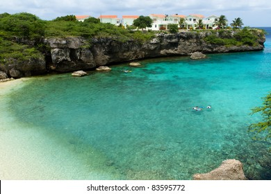 Turquoise waters of a cove in Curacao