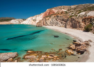 Turquoise waters of Firiplaka beach at Milos island in Greece