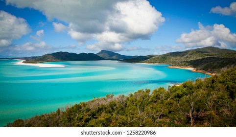 Turquoise waters of Hill Inlet in Whitsundays, Queensland, Australia. Swirling ribbons of blue and azure from white sands of whitehaven beach and forest covered islands