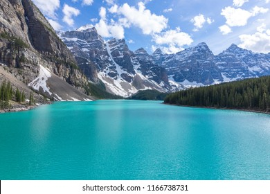 Turquoise Waters of Moraine Lake in Banff National Park, Aberta, Canada