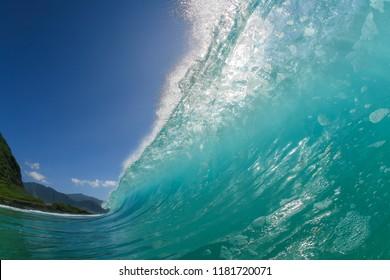 turquoise wave, crashing wave close up