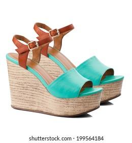 c67dedb5032 Turquoise women shoe isolated on white background.