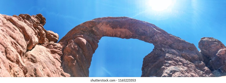 Turret Arch in Arches National Park, aerial view.