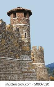 Turret at Castello di Amarosa, Calistoga, Napa Valley, California in wine country