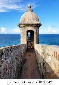 Turret at Castillo San Cristobal in San Juan, Puerto Rico. Historic Fort San Felipe Del Morro.