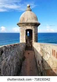 Turret at Castillo San Cristobal in San Juan, Puerto Rico. Historic Fort San Felipe Del Morro.