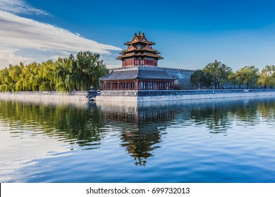 Turret of Forbidden city in Beijing, China. Forbidden City was the imperial capitol of ancient Chinese dynasties in central Beijing