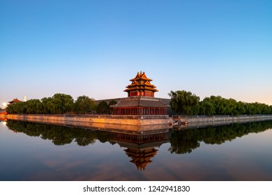 the turret of forbidden city in sunset