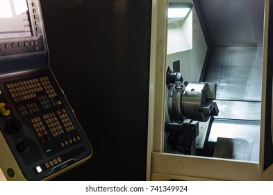 Turret lathe with CNC / Picture taken in a production room, in Russia. 09/04/2017