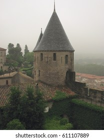 Turret on the medieval city wall of Carcassonne, France
