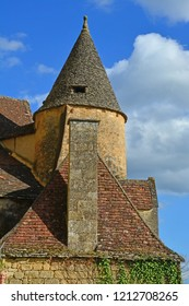 Turret and roof. Medieval french architecture in the Dordogne region at Roque-Gageac