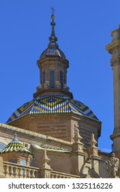 Turret tower details on Zaragoza Basilica / Cathedral in Spain