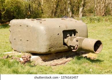 The turret of a World War 2 Churchill tank with a petard spigot mortar attachment