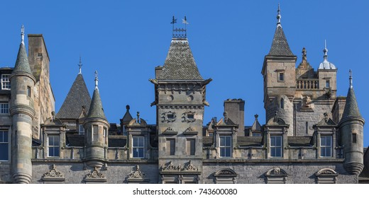 Turreted facade of a building in Edinburgh Old Town
