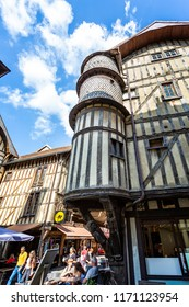 Turreted medieval bakers house in historic centre of Troyes with half timbered buildings in Troyes, Aube, France on 31 August 2018
