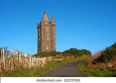 The turreted Scrabo Tower, built in 1857 stands some 540 ft tall and dominates the skyline at Newtownards and North Down, Ireland. It was built as a tribute to the 3rd Marquis of Londonderry