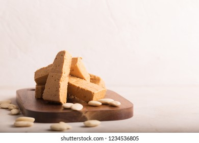 Turron is a typical Christmas food in Spain, usually prepared with almond nougat and fruits. Copy space