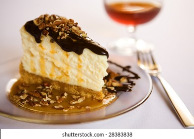 turtle cheesecake with brandy and fork