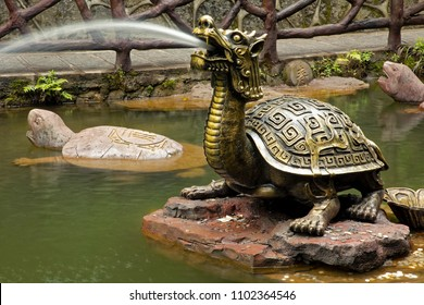 Turtle fountain, turtles are considered good luck in China, located in the Zhangjiajie National Forest Park, Hunan Province, China