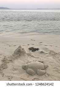 A turtle made of beach sand in Karimunjawa Island, Central Java, Indonesia