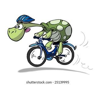turtle on bike