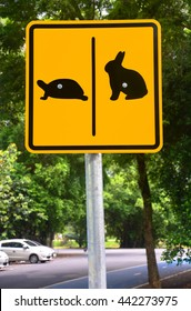 turtle and rabbit sign in public park