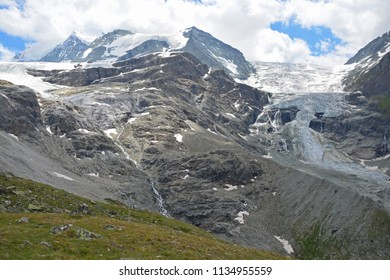 The Turtmann Glacier (centre) between the Bishorn and the Diablons in the Southern Swiss Alps