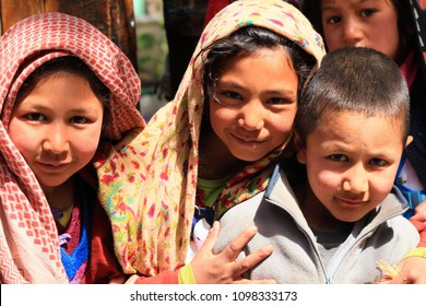 Turtuk,India - March 31,2018: An unidentified Children in a Muslim village take a picture
