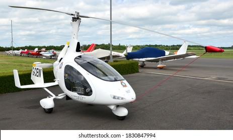 Turweston Aerodrome, Buckinghamshire, England / United Kingdom, 31 May 2019 : An Autogyro Europe Cavalon gyrocopter parked up