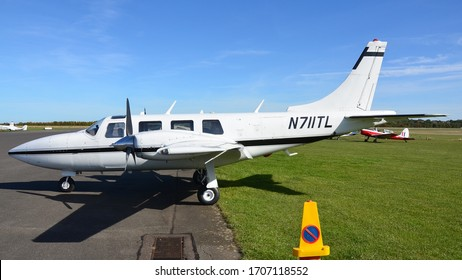 Turweston Aerodrome, Buckinghamshire/United Kingdom - September 29 2018 : A Piper  Aerostar sitting on the ramp, the Aerostar is one of the fastest piston aircraft in the world