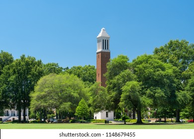 TUSCALOOSA, AL/USA - JUNE 6, 2018: Denny Chimes tower on The Quad at the campus of University of Alabama.