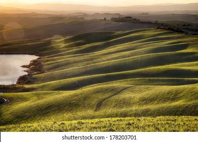 Tuscan hills at sunset