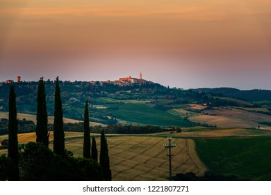 Tuscan hilltop village seen in the early morning on the mountain