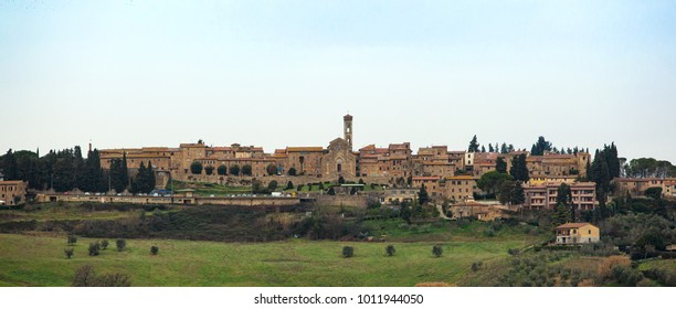 Tuscan landscape with ancient buildings of Barberino Val D'elsa, Town of  Tuscany region in Italy.