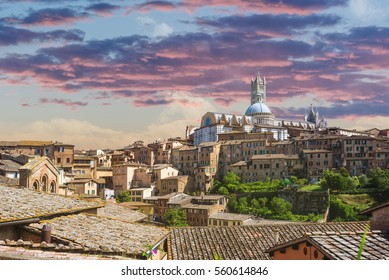 Tuscan medioval  cityscape of Siena,