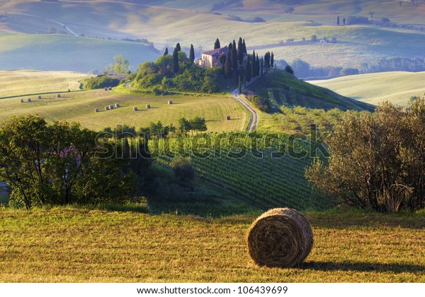 Tuscan Morning countryside. Farmhouse and hills