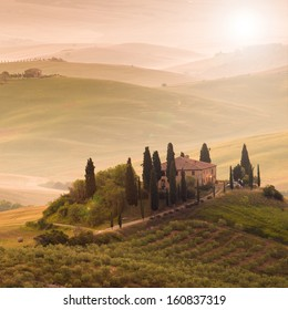 In the tuscan morning, sun and flare