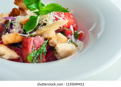 Tuscan Panzanella, traditional Italian salad with tomatoes and bread