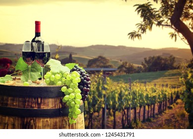 Tuscan wine and grapes
