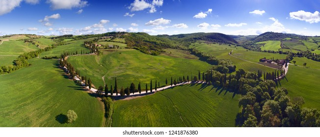 Tuscany aerial panorama landscape with roads of farmland hill country. Italy, Europe