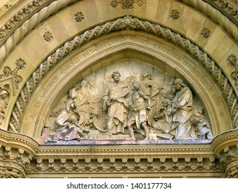 Tuscany, Arezzo cathedral Florentine style portal decorations in Dome square.